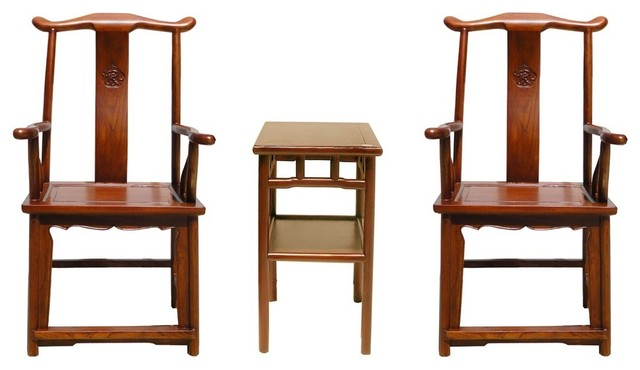 Consigned Chinese Set Of  Elm Wood Yoki Back Armchairs Table Asian