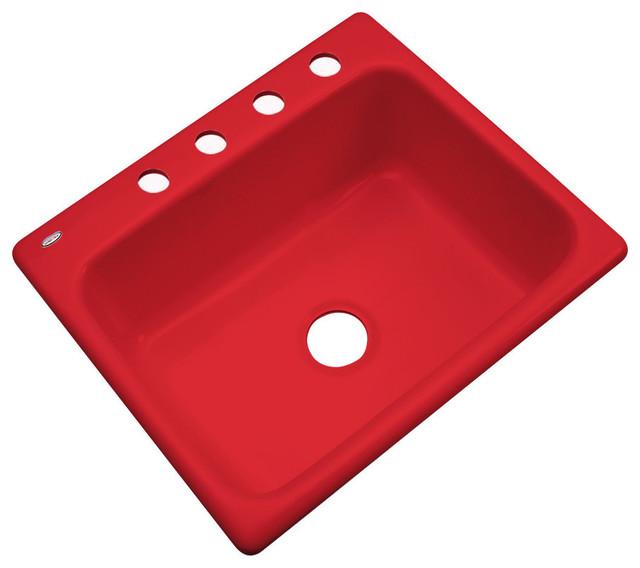 Red Kitchen Sink : Madison 4-Hole Kitchen Sink, Red contemporary-kitchen-sinks