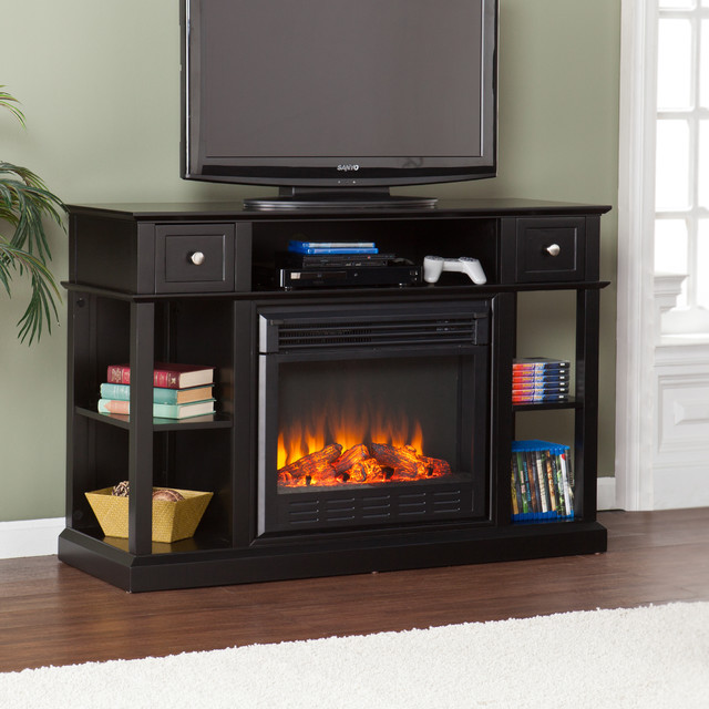 Upton Home Nixon Black Media Console Stand Electric Fireplace Contemporary Entertainment