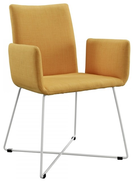 Lilou yellow fabric dining chair modern dining chairs for Modern yellow dining chairs
