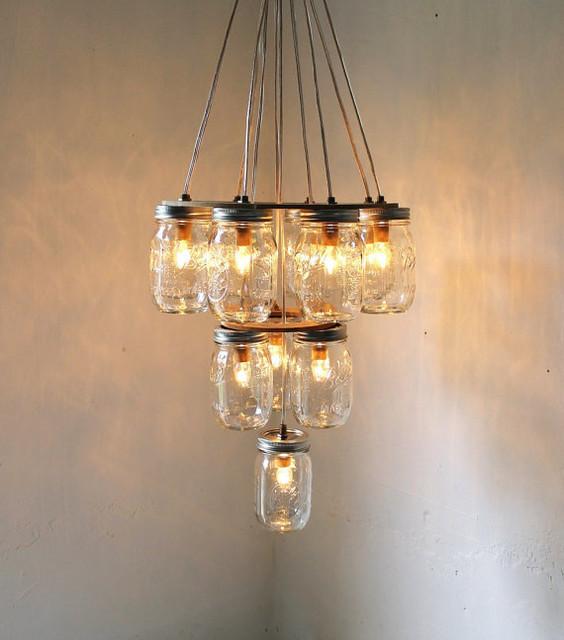 Mason jar chandelier for Houzz rustic lighting