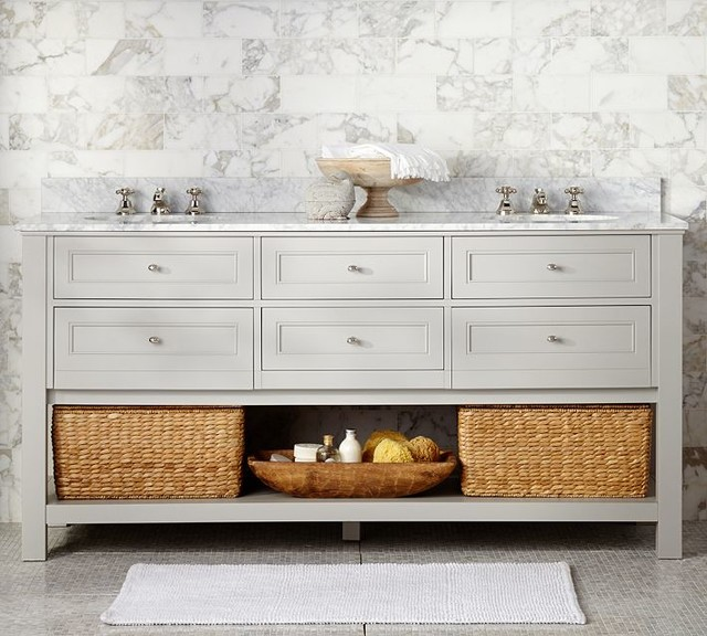 Classic Double Sink Console Gray Contemporary Bathroom Vanities And Sink Consoles