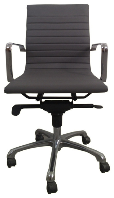 Omega Office Chair Low Back Grey Set Of 2 Contemporary Office Chairs