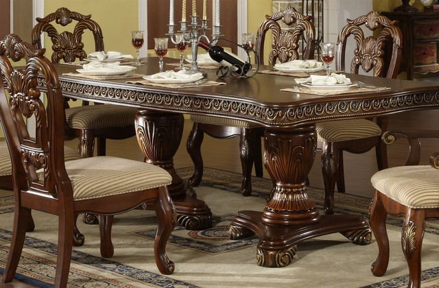 double pedestal dining table set 2