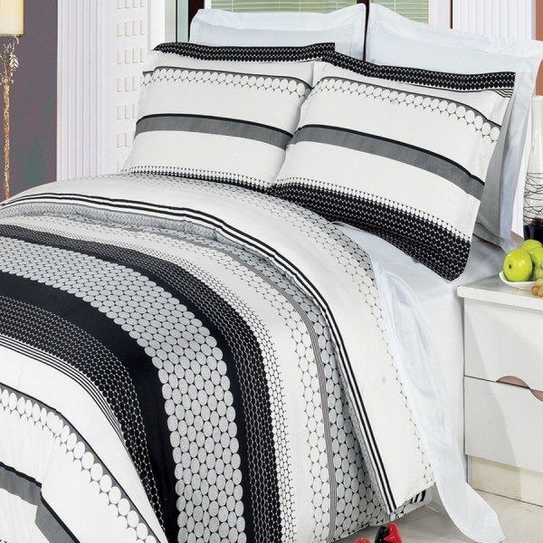 Bedroom Furniture Packages Colorful Master Bedroom Design Ideas Mirrored Bedroom Furniture Uk Master Bedroom Accent Wall Colors: Black And White Dot Circle Bedding Bed In A Bag