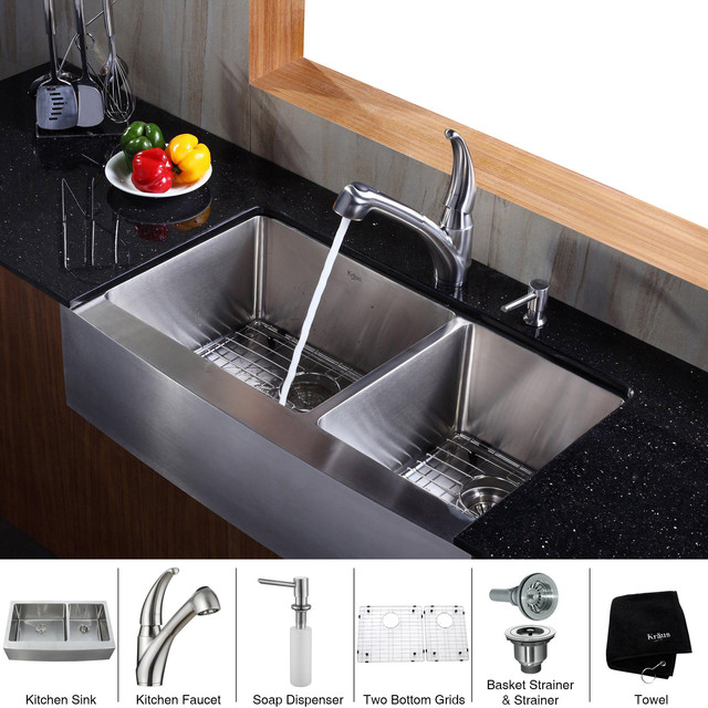 Farmhouse Sink In Modern Kitchen : All Products / Kitchen / Kitchen Fixtures & Fittings / Kitchen Sinks