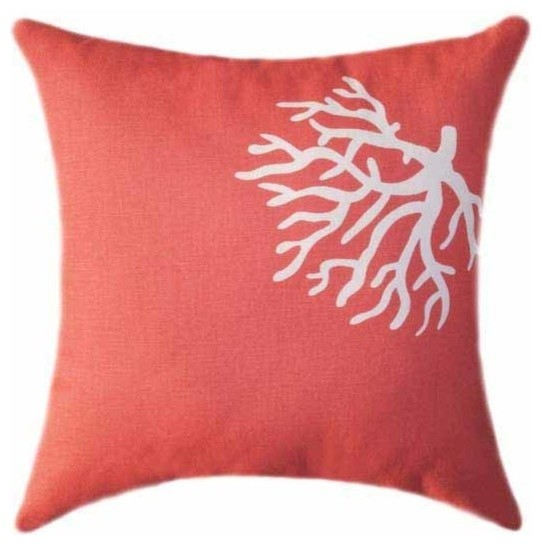 Beach Style Pillows : Coral, Coral Beach Themed Pillow - Beach Style - Decorative Pillows