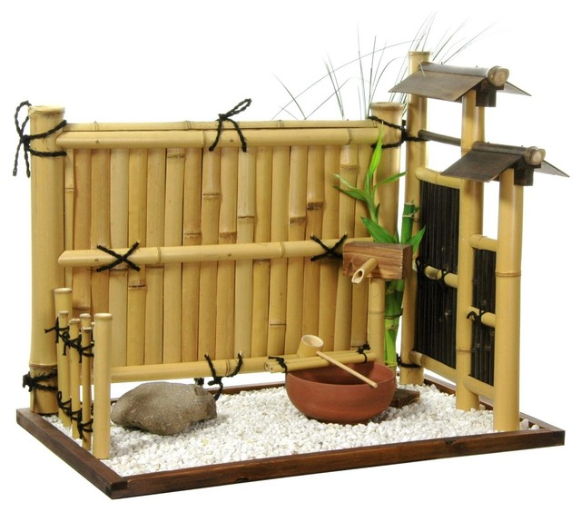Zen bamboo mini rock garden traditional home decor - Garden decor accessories ...