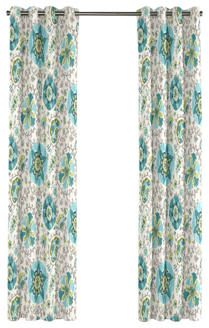 aqua blue suzani grommet curtain modern curtains by loom decor