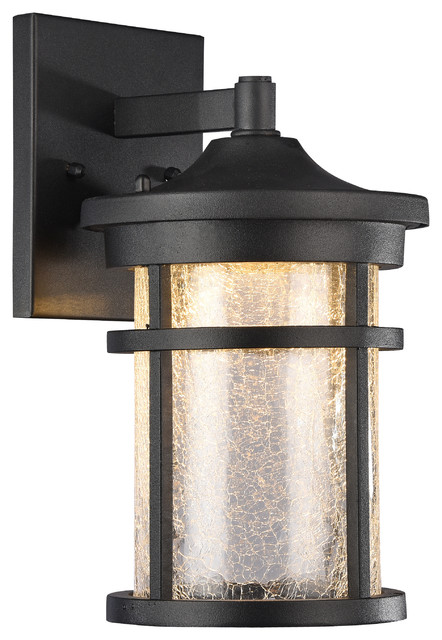 Height Of Wall Lights : Frontier Transitional LED Textured Outdoor Wall Sconce, Black, 11