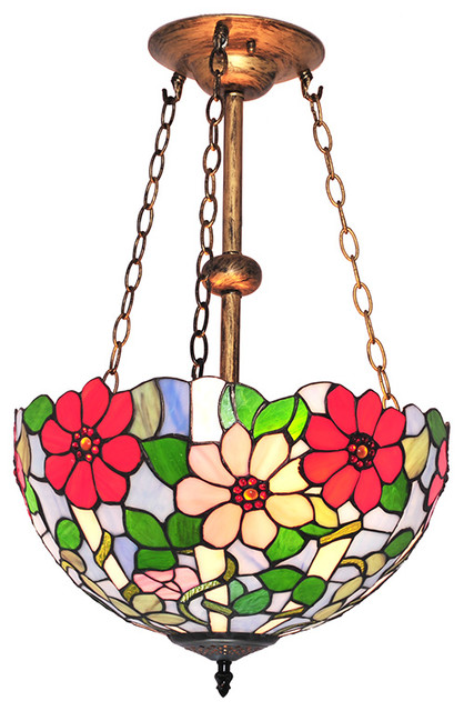 Blue Flower Pattern Stained Glass Tiffany Style Chandelier