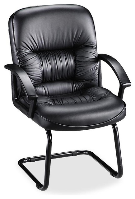 Lorell Tufted Leather Executive Guest Chair Black