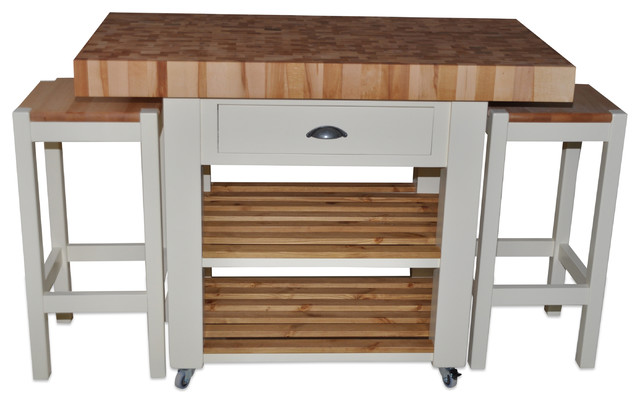 butchers block island double overhang version country