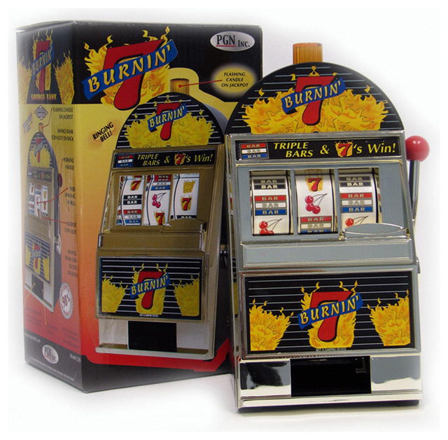 Burning 7's Slot Machine Bank With Spinning Reels - Traditional - Sports And Game Room ...