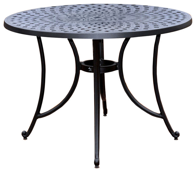Round 42 Outdoor Patio Dining Table In Charcoal Black Metal Finish Ou