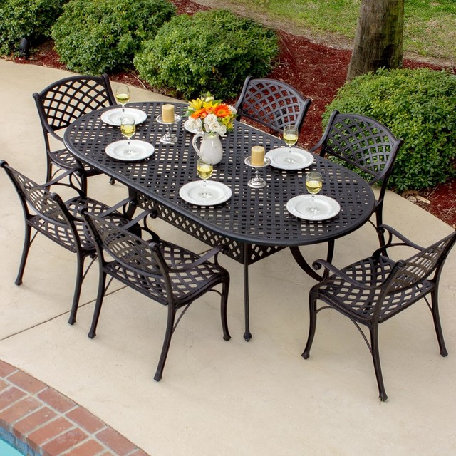 Contemporary Outdoor Dining Furniture: Heritage 6-Person Cast Aluminum Patio Dining Set