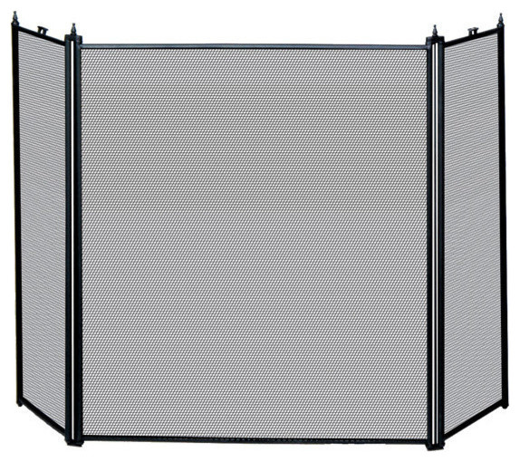 Uniflame S31030bk 3 Fold Black Screen S 1121 Traditional Fireplace Screens By Beyond Stores