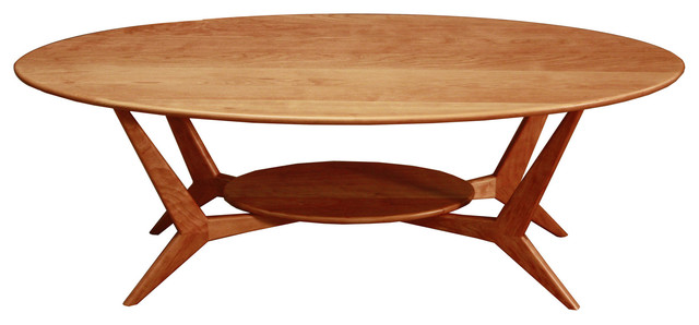 Midcentury Oval Coffee Table Solid Cherry Midcentury Coffee Tables By Wood Revival