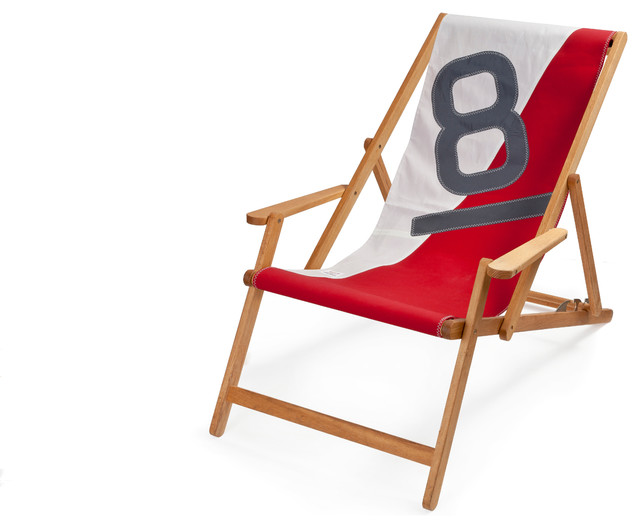 Recycled Sailcloth Oak Deck Chair White Red And Grey Coastal Folding Garden