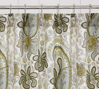 Charlie Paisley Organic Shower Curtain Blue Traditional
