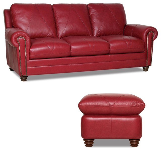 Traditional Sofas Living Room Furniture: Weston Sofa And Ottoman Set, Cherry