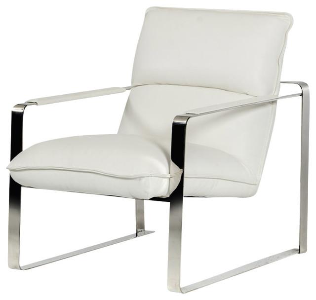Dunn Modern White Leather Lounge Chair Modern Armchairs Accent Chai