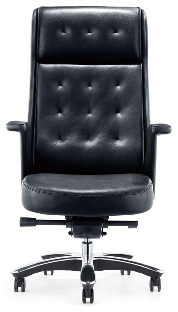 Rockefeller Genuine Leather Executive Chair Black Contemporary Office Chairs