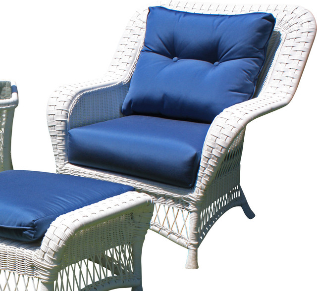 Princeton Wicker Lounge Chair White Traditional Outdoor Lounge Chairs