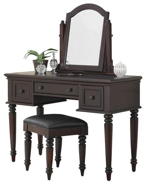 bermuda bedroom vanity table espresso dark brown 5542 70