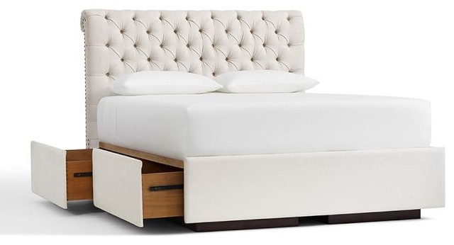 Chesterfield Upholstered Headboard And Storage Platform Bed
