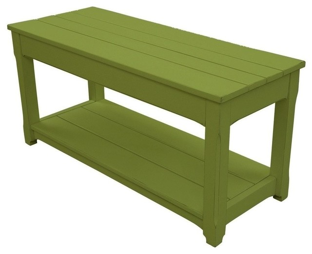 New Trade Winds Bench Green Painted Hardwood Traditional Accent And Storage Benches