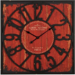 Distressed Wood Red Square Clock Contemporary Clocks