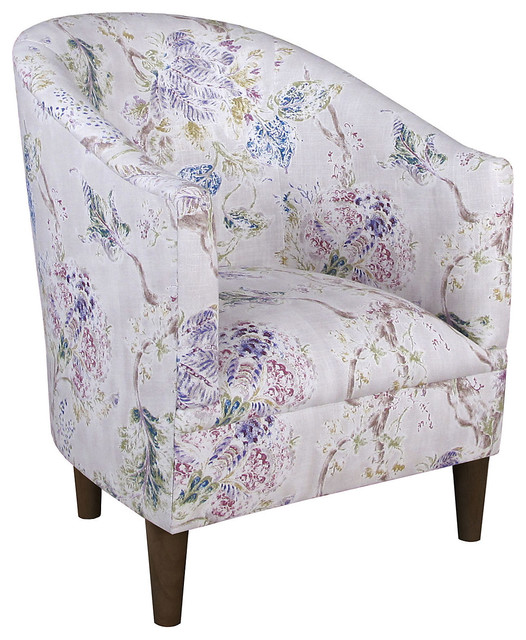 Ashlee Floral Tub Chair Red White Contemporary