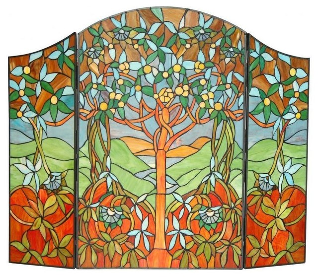 Tiffany style Tree of Life Design Fireplace Screen