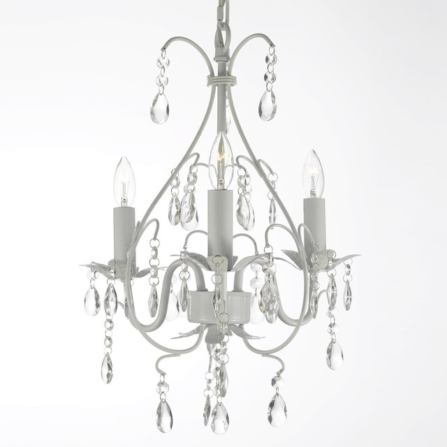 Gallery Wrought Iron And Crystal Swag Plug In Three Light White Chandelier Contemporary