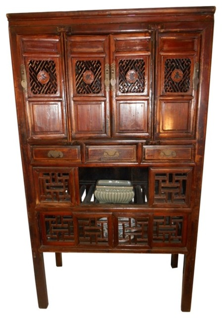 Consigned Antique Chinese Kitchen Chest With Carved Doors - Asian - China Cabinets And Hutches ...