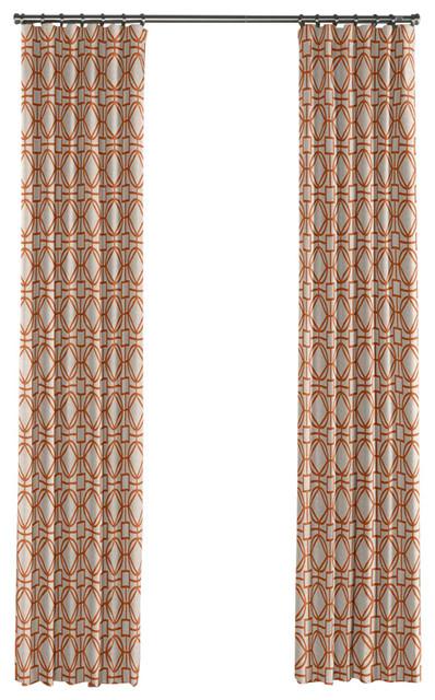 Modern Orange Trellis Curtain Single Panel Ring Top