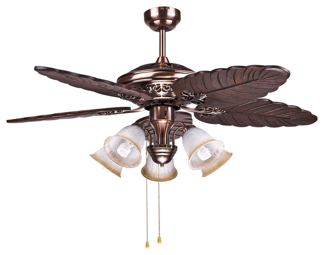 Tropical Bedroom Ceiling Fan Lights With Brass Finish