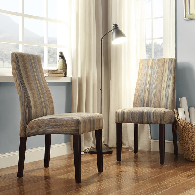 Inspire q marcey mocha tonal stripe wave back dining chair for Inspire q dining room chairs