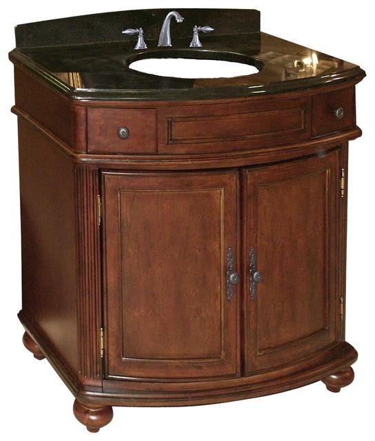 Arlington 36 vanity distressed cherry tan brown granite top traditional bathroom vanities for Distressed bathroom vanity cabinets
