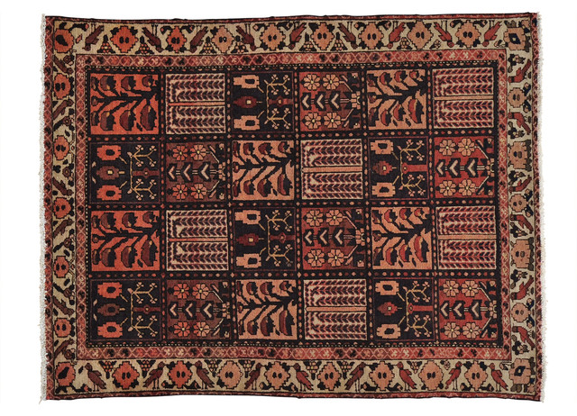 Hand Knotted Oriental Rug Old Persian Bakhtiari Garden