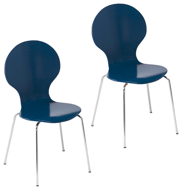 Conbie Chairs Set Of 2 Navy Modern Dining Chairs By SmartFurniture