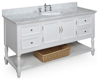 Beverly 60 in single sink bath vanity carrara white - 60 inch bathroom cabinet single sink ...