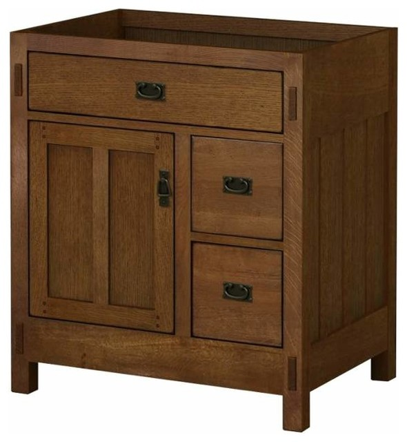 Sagehill Designs Ac3021dn American Craftsman 30 Oak Vanity Cabinet Only Traditional