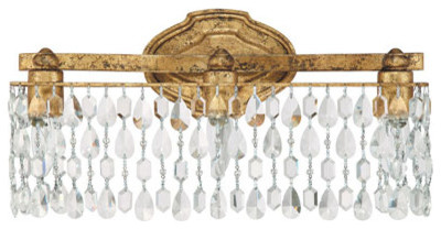 Blakely Antique Gold Three Light Vanity Fixture With Crystals Traditional