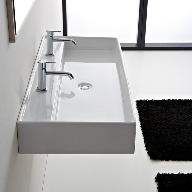 beautiful ceramic 47 inch double sink by scarabeo