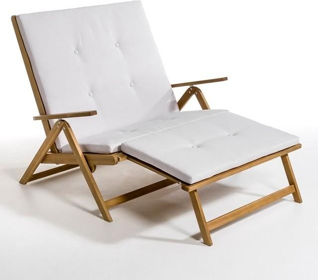 Chaise longue double acacia huil modern gartenliegen - La chaise longue saint lazare ...