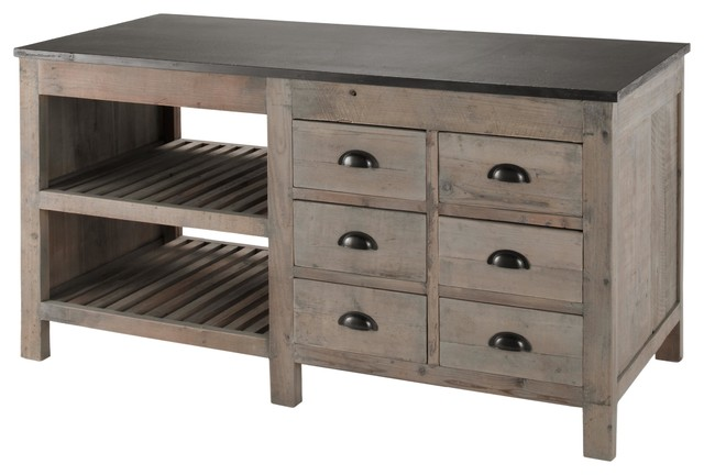 Marvin Rustic Lodge Reclaimed Pine Blue Stone Kitchen Island  Rustic  Kitchen Islands And