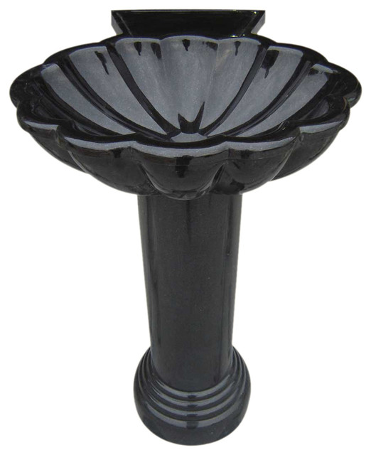 Stone Sinks Black Granite Hand Carved Pedestal StoneSink contemporary ...