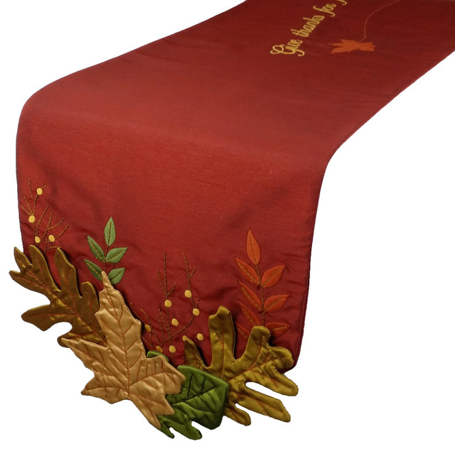 Leaves embroidered fall table runner quot x
